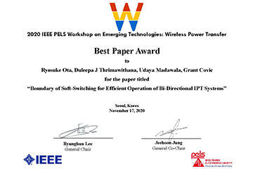 本学教員が国際学会「2020 IEEE PELS Workshop on Emerging Technologies: Wireless Power Transfer」において、Wireless Power Transfer Best Paper Awardを受賞
