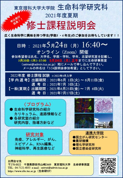 生命科学研究科修士課程説明会を開催(5/24)